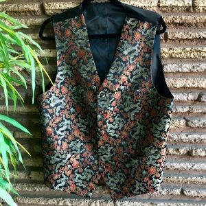 Chinese Red Gold Brocade Dragon Vest Waistcoat